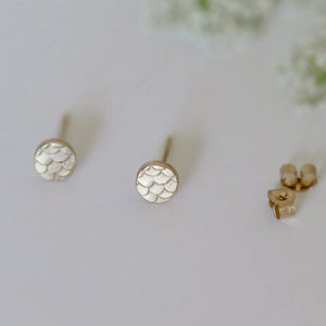 Tiny Fish Scale Patterned Stud Earrings