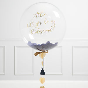 'Will You Be My Bridesmaid?' Navy Bubble Balloon