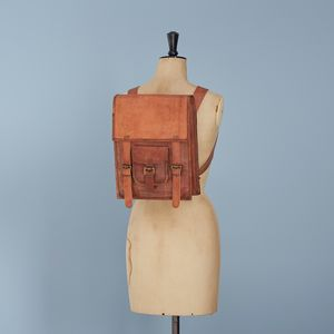 Personalised Brown Leather Satchel Style Rucksack - womens