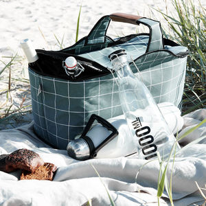 Green Check Picnic Camping Cool Bag - camping
