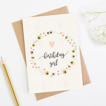 Birthday Girl Card Blush Floral