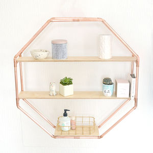 Copper Octagon Shelf Wall Hanging - summer metallics