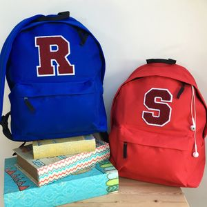Childrens Personalised Chenille Letter Backpack - back to school essentials