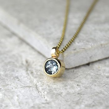 Aquamarine March Birthstone Gold Solitaire Pendant