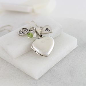 Personalised Silver Heart Locket With Birthstones