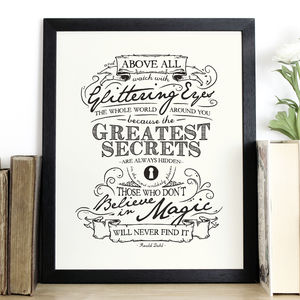 'Believe In Magic' Roald Dahl Quote Print - art