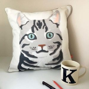 Silver Tabby Cat Feature Cushion