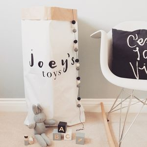 Personalised Scandi Style Paper Toy Sack - children's room