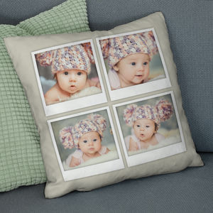 Personalised Four Photo Polaroid Cushion