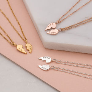 Personalised Piece Of My Heart Necklace Set - gifts for friends