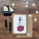 Lightship On Vintage Book Paper Greeting Card