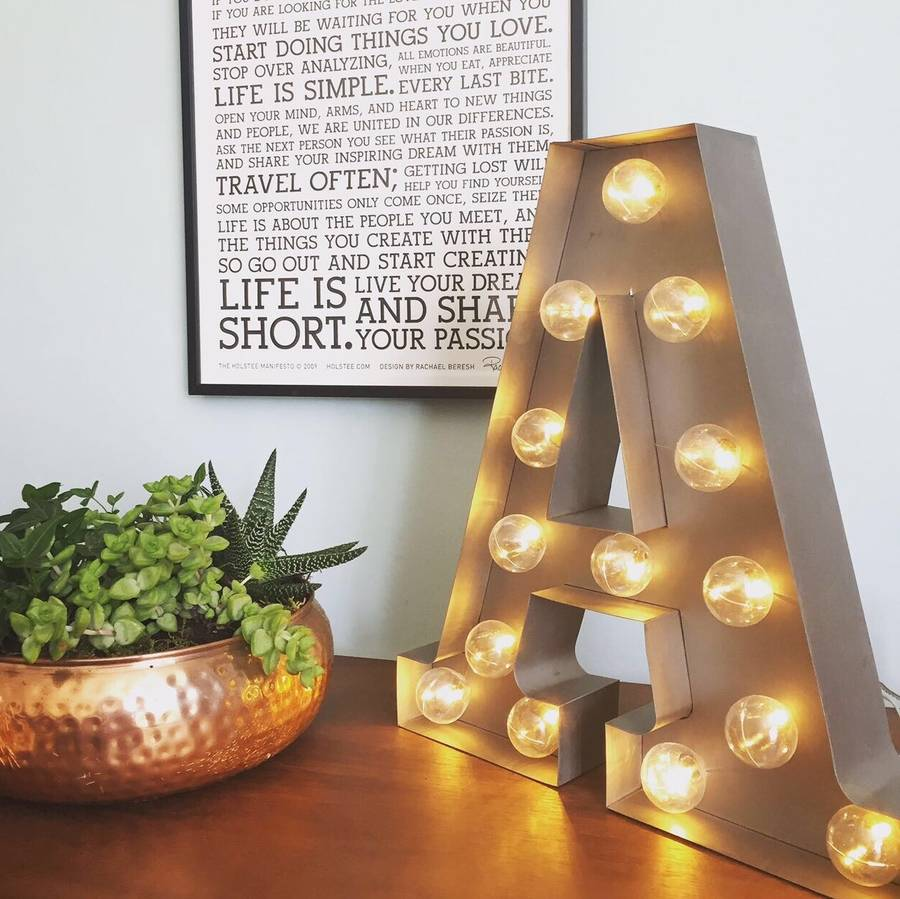 Industrial Style Light Up Letters: Carnival Letter Lights 'a To Z' Industrial Silver By
