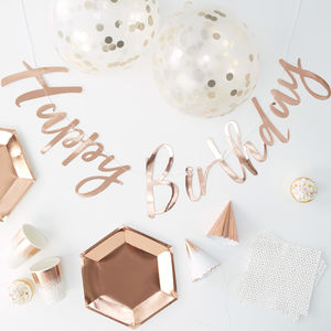 Rose Gold Foiled Happy Birthday Party In A Box 16 Pack
