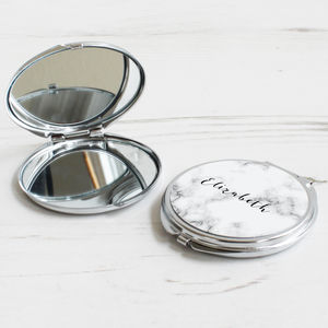 Personalised Marble Compact Mirror - wedding thank you gifts