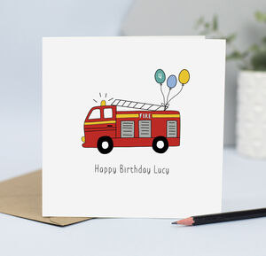 Fire Engine Birthday Card With Name And Age