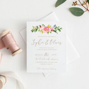 Blossom Floral Watercolour Wedding Invitation