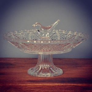 Vintage Glass Bird Bath And Feeder