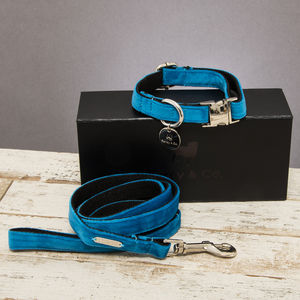 The Constantine Velvet Dog Collar And Lead Set - new in pets
