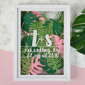 Personalised Tropical Leaf Multi Layered Papercut - gifts for couples