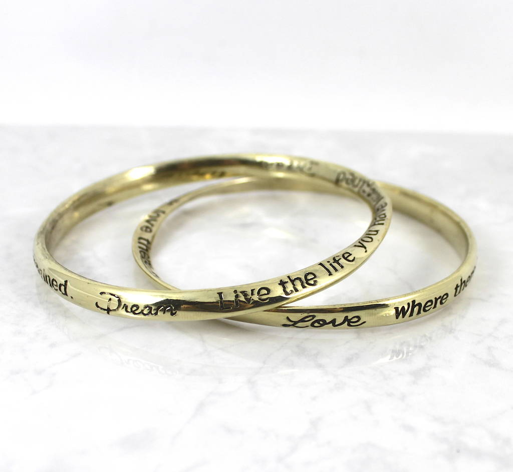 Gold Inspirational Message Bracelet