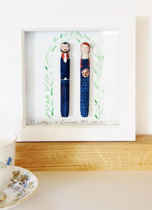 Personalised Peg Wedding Portrait