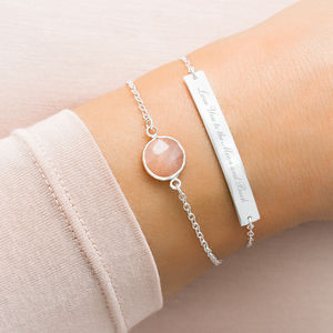 Alexa Personalised Birthstone And Bar Bracelet Set - february birthstone