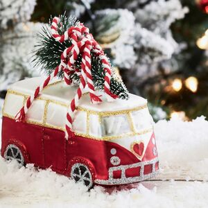 Christmas Red Camper Van Decoration