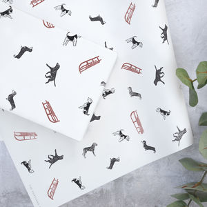 Lino Print Dogs And Sleighs Gift Wrap - shop by category