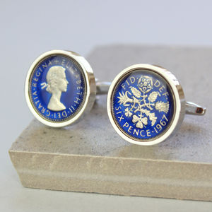 Enamel Sixpence Cufflinks 1958 60th Birthday - cufflinks