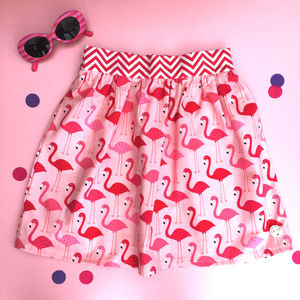 Girls Flamingo Print Flat Fronted Skirt