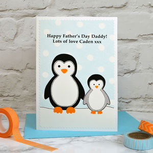 'Penguins' Personalised Father's Day Card