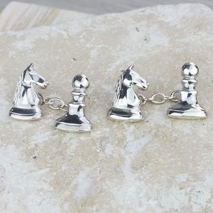 Knight Takes Pawn Chess Cufflinks - men's accessories