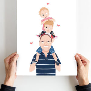 Personalised Dad Piggy Back Portrait