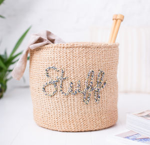 Embroidered Storage Basket For Stuff
