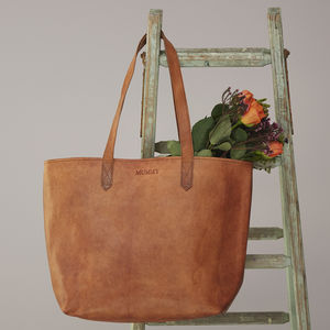 Personalised Leather Shopper Bag - totes