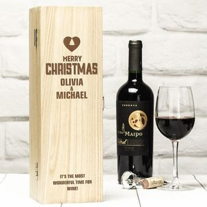 Personalised Christmas Wine Box And Red Wine Gift Set