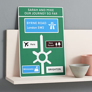 Favourite Places Metal Road Sign - top 50 personalised art prints