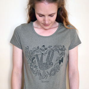 Organic Womens Hanging Sloth T Shirt - tops & t-shirts
