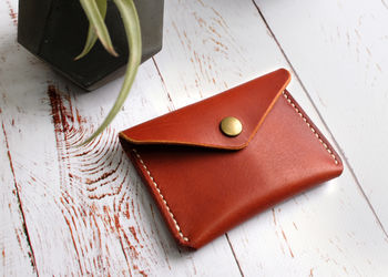 Italian Leather Button Wallet Tan