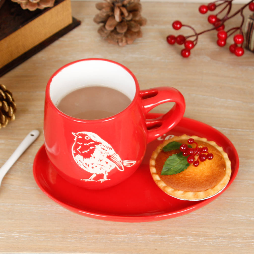 Christmas Red Robin Ceramic Mug And Mince Pie Plate