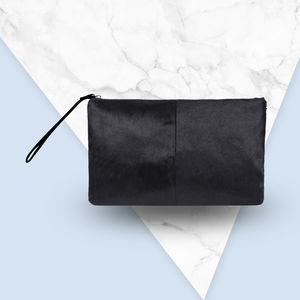 Classic Clutch Bag In Black Natural Pony Fur