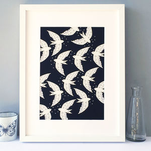 Birds In Night Flight Illustration Print, Wall Art - posters & prints