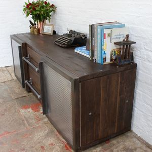 Shipton Industrial Wood And Perforated Steel Sideboard - furniture