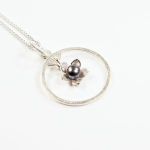 Silver And Pearl Gilia Flower Frame Medium Pendant - necklaces & pendants