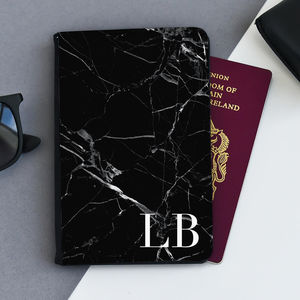 Black Marble Personalised Passport Case