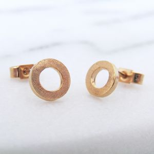 Small Gold Circle Stud Earrings