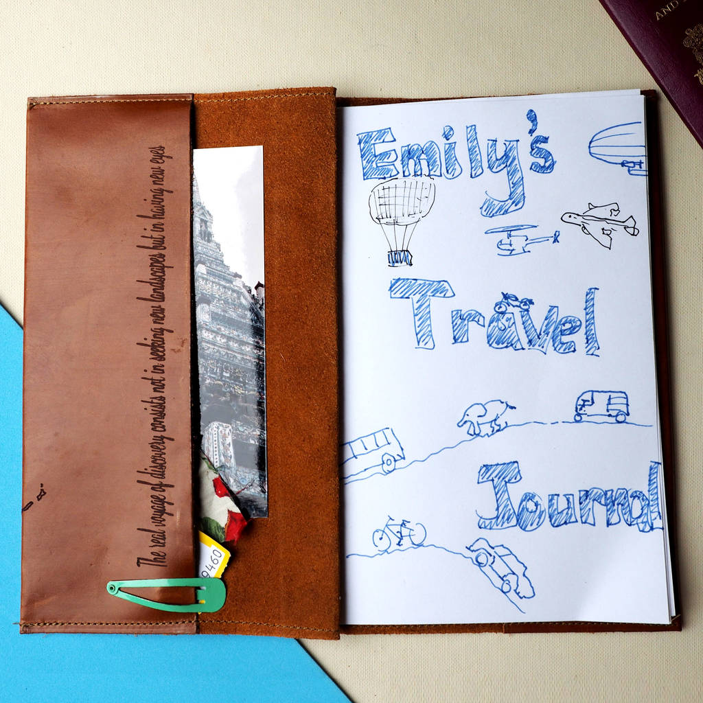 personalised leather travel journal diary by stabo
