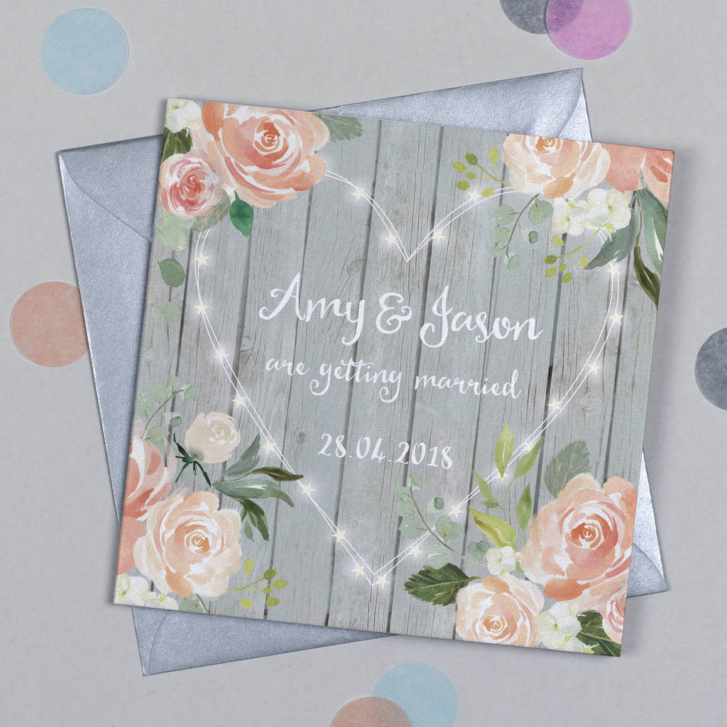 Floral Fairy Lights Wedding Invitation By Michelle Fiedler Design