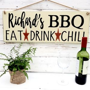 Personalised Bbq, Braai Or Bar Sign For Garden