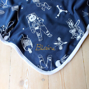 Navy Space Age Baby Blanket With Personalised Option